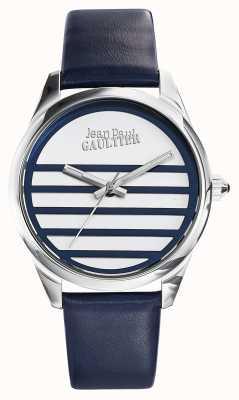 Jean Paul Gaultier Granatowy skórzany pasek z białą tarczą JP8502409