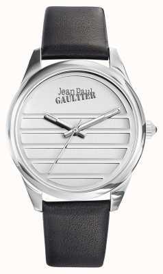Jean Paul Gaultier Granatowy czarny skórzany pasek z białą tarczą JP8502408