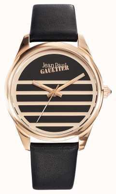 Jean Paul Gaultier Granatowy czarny skórzany pasek z czarną tarczą JP8502410