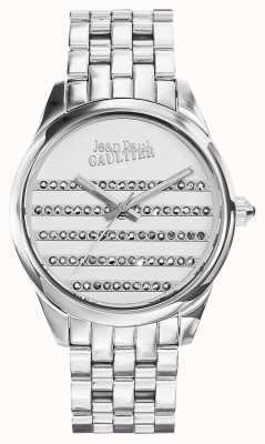 Jean Paul Gaultier Granatowa bransoleta ze stali nierdzewnej, biała tarcza JP8502404