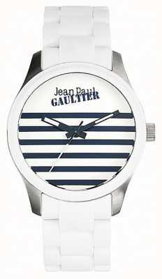 Jean Paul Gaultier Enfants terribles biała bransoleta ze stalowej gumy, biała tarcza JP8501120