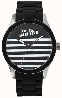 Jean Paul Gaultier Enfants terribles czarna gumowa bransoleta ze stali czarnej tarczy JP8501121