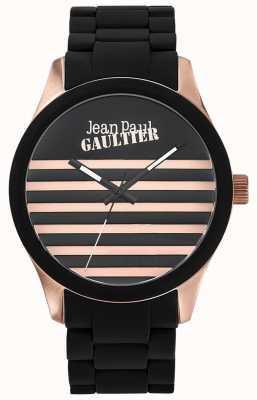 Jean Paul Gaultier Enfants terribles czarna gumowa bransoleta ze stali czarnej tarczy JP8501122