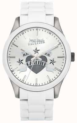 Jean Paul Gaultier Enfants terribles biała bransoleta ze stalowej gumy, biała tarcza JP8501123