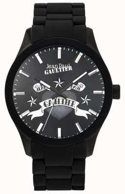 Jean Paul Gaultier Enfants terribles czarna gumowa bransoletka czarna tarcza JP8501125