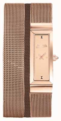 Jean Paul Gaultier Damski cote de maille rose gold pvd mesh bransoletka rose dial JP8503906