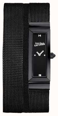 Jean Paul Gaultier Damska cote de maille czarna bransoletka z siatki pvd czarna tarcza JP8503905