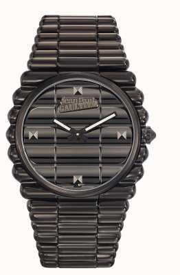Jean Paul Gaultier Mens bord cote czarna bransoletka pvd czarna tarcza JP8504203