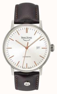 Bruno Sohnle Duży, automatyczny zegarek skórzany 44mm z czarnej skóry w Stuttgarcie 17-12173-245