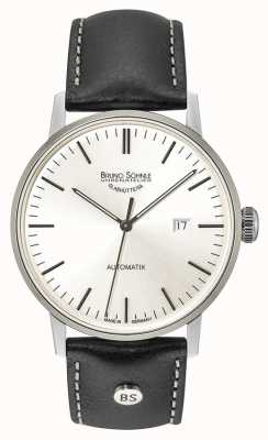 Bruno Sohnle Stuttgart duży automatyczny zegarek skórzany z czarnej srebrnej tarczy 44mm 17-12173-247