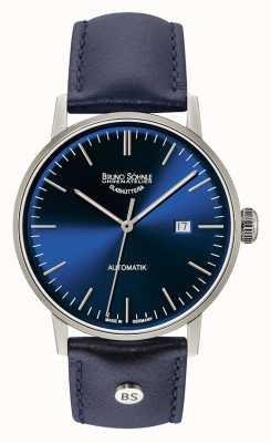 Bruno Sohnle Sztandarowy duży automatyczny skórzany zegarek 44mm w kolorze niebieskim 17-12173-341