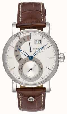 Bruno Sohnle Brązowy skórzany zegarek Pesaro ii 43mm 17-13073-283