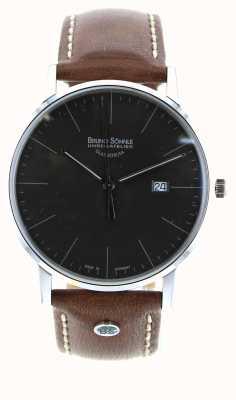 Bruno Sohnle Brązowy skórzany zegarek Stuttgart i 42 mm 17-13175-841