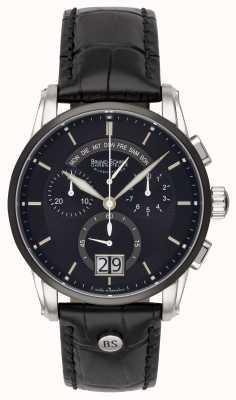 Bruno Sohnle Czarny skórzany zegarek Grandioso 42,5 mm 17-73117-741