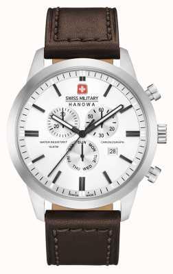 Swiss Military Hanowa Męski chrono klasyczny brązowy skórzany pasek 06-4308.04.001