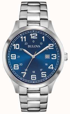 Bulova Zegarek męski z niebieską tarczą ze stali nierdzewnej 96B273