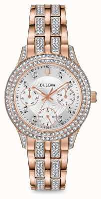 Bulova Kryształowy zegarek damski z różowego złota 98N113