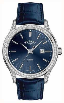 Rotary Damski skórzany pasek oxford niebieski zegarek kwarcowy LS05092/05