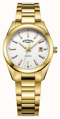 Rotary Damski havana pozłacany biały zegarek LB05081/02