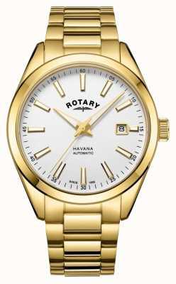 Rotary Mens havana srebrny biały zegarek ze stali nierdzewnej GB05081/02