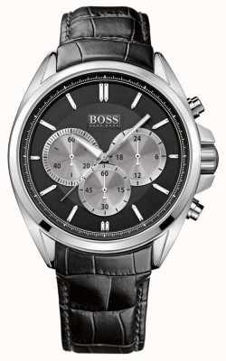 Boss Męski zegarek z czarnej skóry z chronografem 1512879