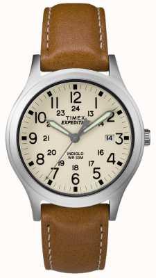 Timex Męski skórzany pasek ekspedycyjny scout tan naturalnej tarczy TW4B11000