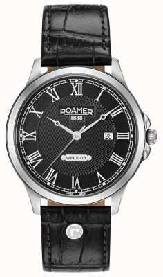 Roamer Czarny skórzany pasek Windsor 706856415207