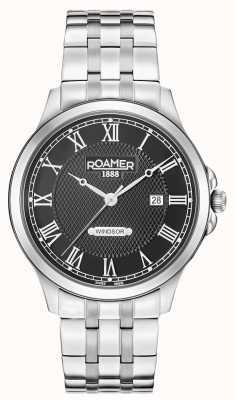 Roamer Mens windsor czarna tarcza ze stali nierdzewnej bransoleta 706856415270