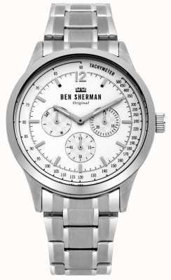 Ben Sherman Męska srebrna bransoletka, biała, wielofunkcyjna tarcza WB073SM