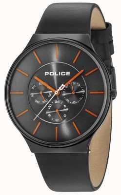 Police Czarny skórzany pasek Seattle czarna szara tarcza 15044JSB/13A