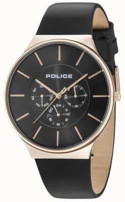 Police Seattle różowe złoto czarny skórzany pasek wybierania 15044JSR/02