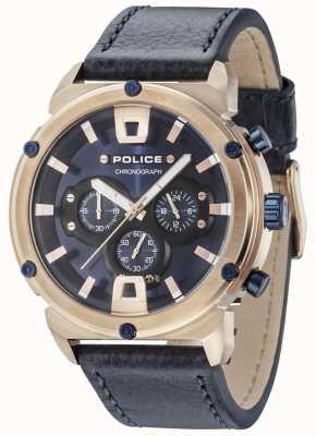 Police Pancerz ii różowo-złoty pokrowiec ciemnoniebieski dial ciemnoniebieski pasek 15047JSR/03