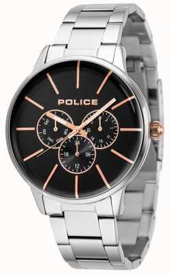 Police Swift bransoleta ze stali nierdzewnej z czarną tarczą 14999JS/02M