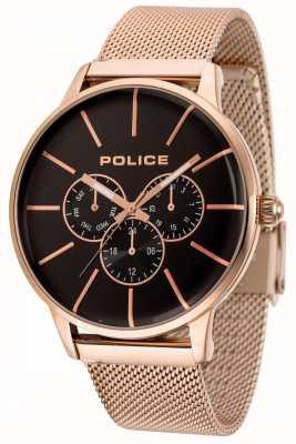 Police Swiftowa bransoletka z różowego złota z czarną tarczą 14999JSR/02MM