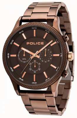 Police Pace brązowa bransoletka z szarą tarczą 15002JSBN/13M