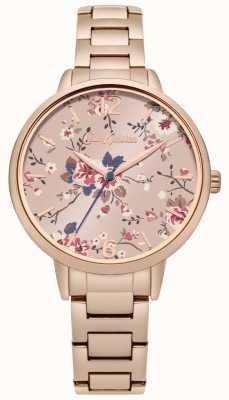 Cath Kidston Różowe złoto bransoletka kwiatowy różowy tarczy CKL038RGM