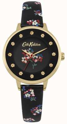 Cath Kidston Czarna tarcza kwiatowa drukuje kwiatowe znaczniki godzin złota koperta CKL040BG