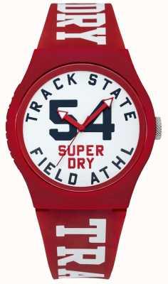 Superdry Śledź wybierany biały pasek na czerwono SYG182WR