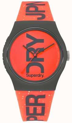 Superdry Miejski czerwony gumowy pasek z czarną obudową SYL189CE