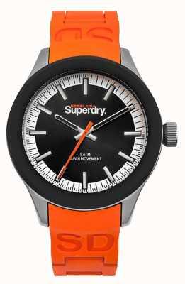 Superdry Czarny silikonowy pasek w pomarańczowym kolorze SYG211O