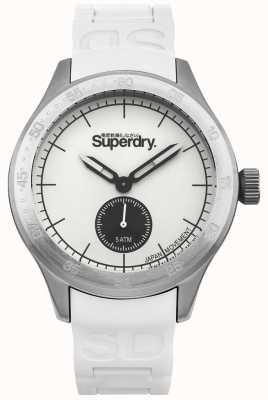 Superdry Biała tarcza ze srebrnego koperty ze stali nierdzewnej, biały silikonowy pasek SYG212W