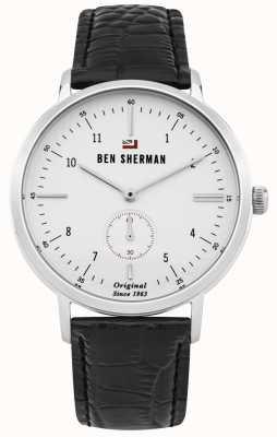 Ben Sherman Dylan profesjonalny biały skórzany pasek z czarnej skóry WBS102WB