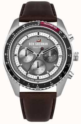Ben Sherman Zegarek z ronnie chronografem, szary, słoneczny, z brązowym paskiem WBS108BT