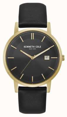 Kenneth Cole Nowy jork wyświetlacz daty czarna tarcza złota koperta czarna skóra KC15202002