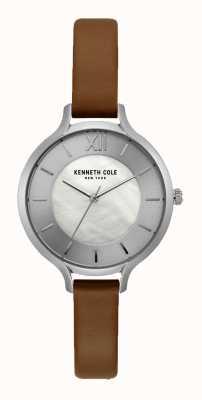 Kenneth Cole Skórzany pasek New York Silver Dial z ciemnego brązu KC15187005