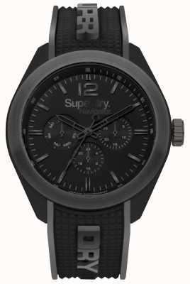 Superdry Ekskluzywny czarny pasek silikonowy Navigator w kolorze szarym SYG215EB