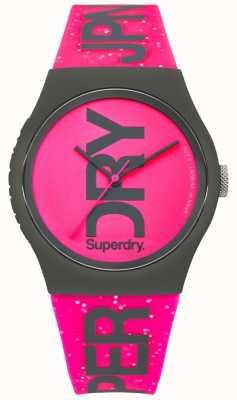 Superdry Womans miejski jasny różowy pasek i tarcza SYL189PP
