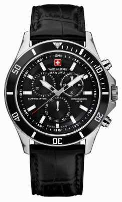 Swiss Military Hanowa Czarny skórzany pasek z chronografem 6-4183.7.04.007