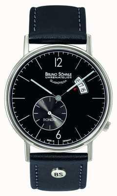 Bruno Sohnle Duży zegar Rondo o średnicy 38 mm z czarnym wyświetlaczem z datą i datą 17-13053-761
