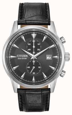 Citizen Męski czarny czarny skórzany pasek chronograf z chronografem CA7000-04H
